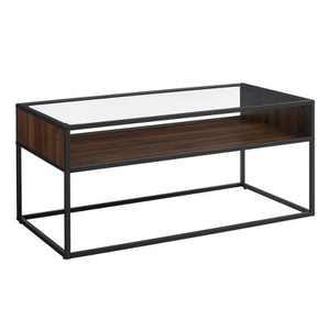 "40"" Metal and Glass Coffee Table with Open Shelf - Saracina Home"