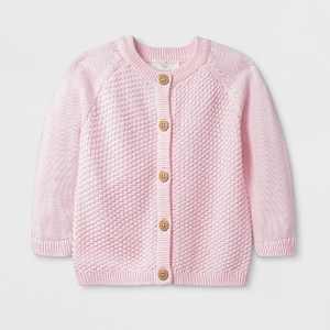 Baby Girls' Solid Sweater - Cloud Island™ Pink Newborn