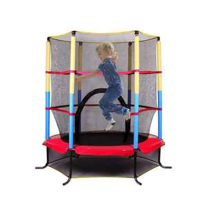 Zimtown Youth Jumping Round Trampoline 55 Exercise W/ Safety Pad Enclosure Combo Kids