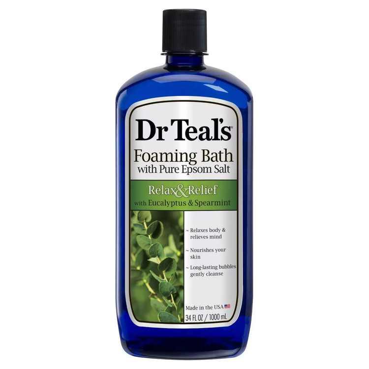 Dr Teals Epsom Salt Foaming Bath Relieve Eucalyptus, 34 Oz.
