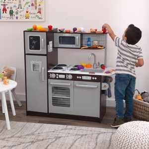 KidKraft Uptown Espresso Play Kitchen with 30-Piece Play Food