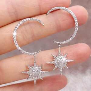 Fashion Moon and Star Crescent Moon Dangle Earrings