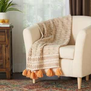 "60""x50"" Bohemian Tassels Stonewash Throw Blanket Natural - Mina Victory"