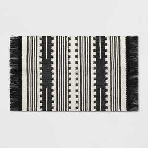 2'X3' Sylviidae Stripe Woven Accent Rug Black - Opalhouse™