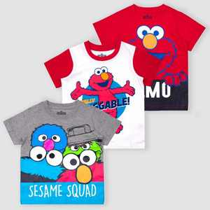 Toddler Boys' Sesame Street Elmo 3pk Short Sleeve T-Shirt - Red/White/Gray