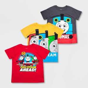 Toddler Boys' Mattel Thomas & Friends 3pk Short Sleeve T-Shirt -Red/Yellow/Gray