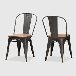 Set of 2 Henri Tolix Finished Steel Stackable Dining Chairs Brown - BaxtonStudio