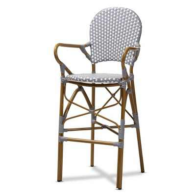 Marguerite Indoor and Outdoor Bistro Stackable Barstool Gray/White - BaxtonStudio