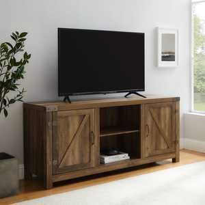 """Woven Paths Modern Farmhouse Barn Door TV Stand for TVs up to 65"""", Reclaimed Barnwood"""