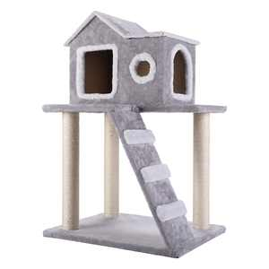 Y-Not 34-in Cat Tree & Condo Scratching Post Tower, Gray