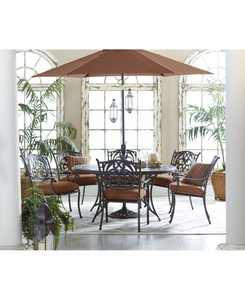 """Chateau Outdoor Cast Aluminum 7-Pc. Dining Set (60"""" Round Dining Table and 6 Dining Chairs), Created for Macy's"""