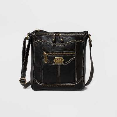 Bolo Zip Closure Eagle Rock Crossbody Bag - Black