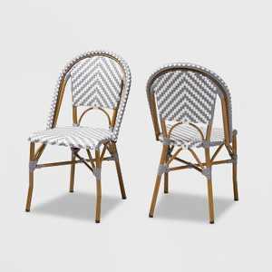 Set of 2 Celie Indoor and Outdoor Stackable Bistro Dining Chairs - Baxton Studio
