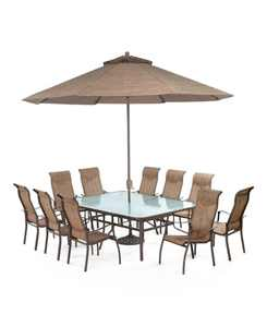 "Oasis Outdoor Aluminum 11-Pc. Dining Set (84"" x 60"" Dining Table and 10 Dining Chairs), Created for Macy's"