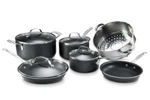 Granite Stone Pots and Pans Set, 10 Piece Nonstick Cookware Set, Includes Steamer, Scratch Resistant, Granite Coated, Dishwasher and Oven-Safe, PFOA-Free, Black