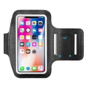 Insten Black Sports Armband Gym Running Case Phone Holder for iPhone 8 Plus 7 Plus X 6 Plus 6S Plus SE 2020 SE2/ Samsung Galaxy Note 8 5 4 3 S7 Edge S8 S9 S9+ Universal (with key Storage)