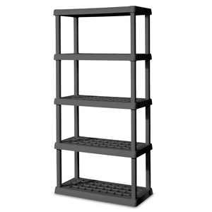"Sterilite 36""W x 75.25""D x 18""H 5-Shelf Freestanding Shelves, Flat Gray"