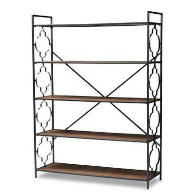 "65"" 5 Shelf Mirna Iron & Natural Oak Wood Quatrefoil Accent Bookshelf Brown/Black - Baxton Studio"