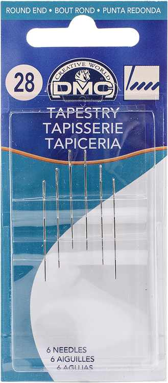 Tapestry Hand Needles, Size 28 6/Pkg, Blunt rounded end of these tapestry needles slips easily through the holes of canvas or into the weave of.., By DMC