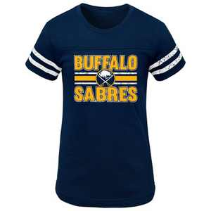 NHL Buffalo Sabres Girls' Netminder Fashion T-Shirt - XS