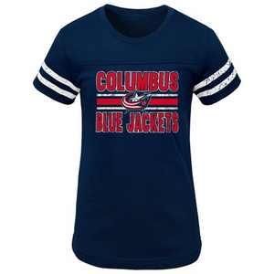 NHL Columbus Blue Jackets Girls' Netminder Fashion T-Shirt - XS