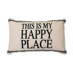 """Tricia """"This Is My Happy Place"""" Lumbar Throw Pillow Beige - Decor Therapy"""