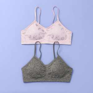 Girls' 2pk Ruched Crop Bra - More Than Magic Pink/Gray