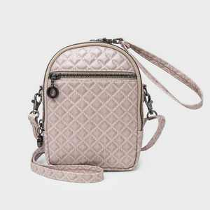 Stella & Max Zip Closure Convertible Crossbody Bag with Phone Charging Battery - Blush Pink