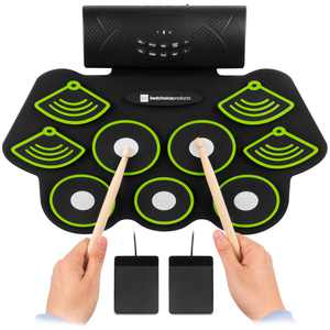 Best Choice Products Electronic Drum Set, Bluetooth Roll Up Portable Pad Kit with Built-In Speakers, Pedals and Drumsticks