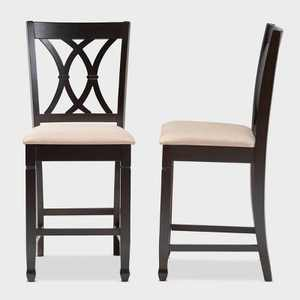 2pc Reneau Finished Wood Counter Height Pub Chairs - Baxton Studio