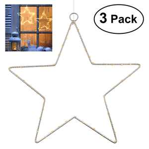 YUNLIGHTS 3pcs 1.5M 45 LED Five-Pointed Star String Lights Battery-powered Decoration Lights with Remote Control Curtain Window Hanging Decoration Lights for Christmas Wedding Birthday Party