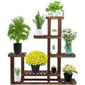 Yaheetech 6-Layer Wooden Flower Stand Flower Plant Display Stand Shelf Ladder Stand for Living Room Balcony Patio Yard Indoors & Outdoors Available for 10 Pots