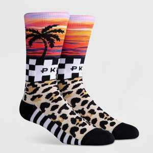 PKWY Men's Leopard Print Mash Crew Socks -  L
