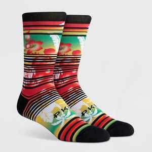 PKWY Men's Striped Floral Print Jah Lei Crew Socks - Red L