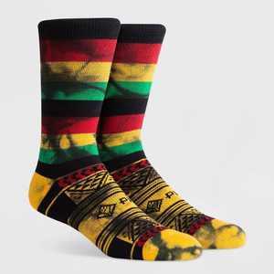PKWY Men's Geometric Crew Socks - Black L