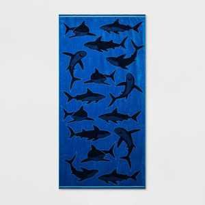 Shark Beach Towel XL Navy Blue - Sun Squad™