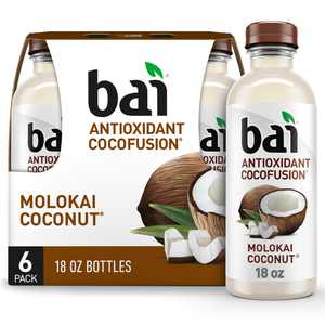 Bai Coconut Flavored Water, Molokai Coconut, Antioxidant Infused Drinks, 18 Fluid Ounce Bottle, 6 count
