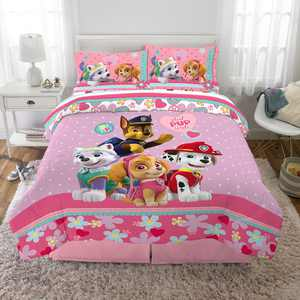 PAW Patrol Kids 85 Thread Count Animation Characters 5 Pieces, With Fitted Sheet Flat Sheet Pillowcase