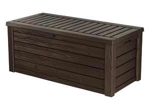 Keter Westwood Outdoor Storage 150 Gallon Resin Deck Box and Bench, Brown