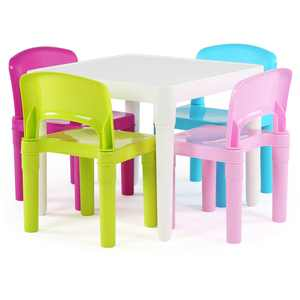 Humble Crew Kids Lightweight Plastic Table and 4 Chairs Set