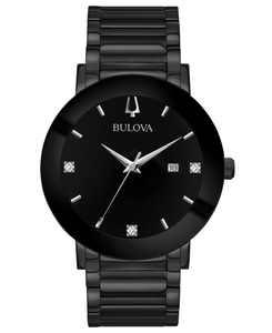Men's Futuro Diamond-Accent Black Stainless Steel Bracelet Watch 42mm