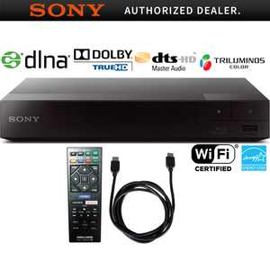 Sony Streaming Blu-ray Disc Player with Wi-Fi (BDP-S3700) with 6ft High Speed HDMI Cable