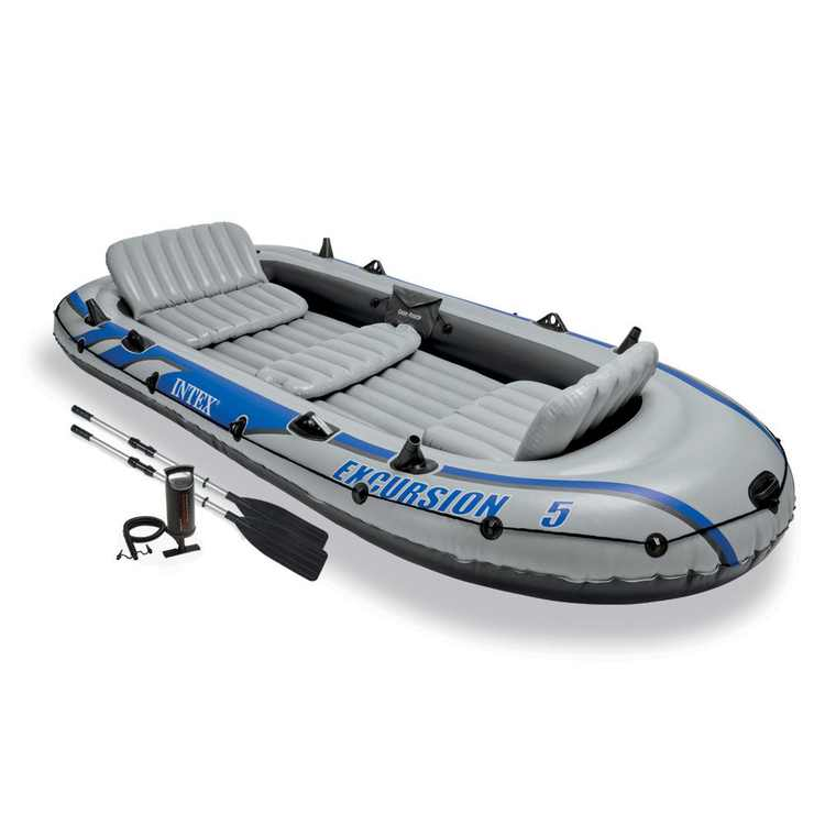 Intex Excursion 5 Person Inflatable Rafting and Fishing Boat Set with 2 Oars