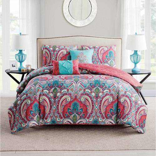 VCNY Home Casa Real Bedding Set, Twin with Duvet Cover, Sham, & Decorative Pillows