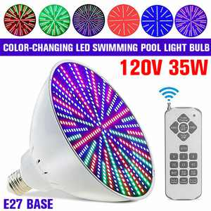 RGB Color Changing LED Pool Lights with Switch/Remote Control, 35W Super Bright Pool Light Lamp E27 Replacement Bulb For Inground Swimming Pool Fit Pentair and Hayward Fixture