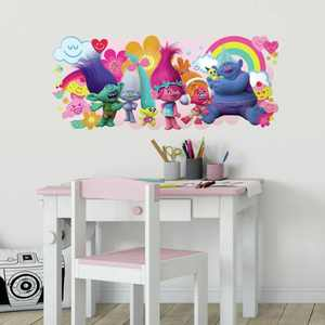 RoomMates Trolls Movie Peel and Stick Giant Wall Decals, 38.62 in wide x 16.37 in high