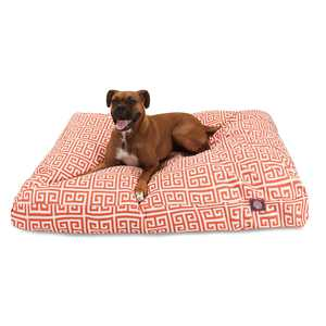 """Majestic Pet Towers Rectangle Dog Bed Treated Polyester Removable Cover Orange Small 27"""" x 20"""" x 4"""""""