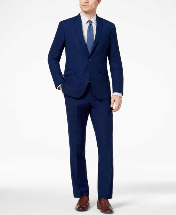 Men's Ready Flex Slim-Fit Stretch Modern Blue Solid Suit