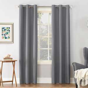 Sun Zero Cooper Textured Thermal-Lined Room Darkening Energy-Efficient Grommet Curtain Panel