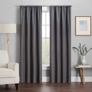 Eclipse Kendall Solid Blackout Rod Pocket Energy-Efficient Curtain Panel, Gray, 42 x54